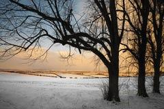 Soirée de l'hiver dans les vallées de Yorkshire - Angleterre Image libre de droits