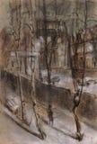 Soirée de l'hiver dans une ville Illustration Libre de Droits