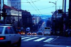 soirée de paysage urbain de Belgrade Images libres de droits
