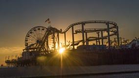Soirée de pilier de Santa Monica Photo stock