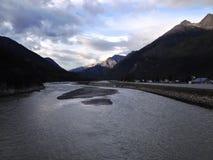 Soirée de rivière de Skagway Images libres de droits