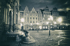 Soirée romantique à la vieille ville à Wroclaw, la Pologne Photographie stock