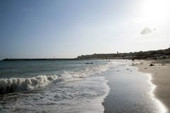 Soirée venteuse à la plage images libres de droits