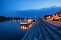 Soirée chez le fleuve Vistule à Torun Image libre de droits