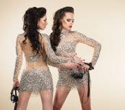 Soiree. Dwa Eleganckiej Foremnej kobiety w Popielatych sukniach Zdjęcia Stock