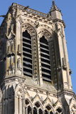 Soissons Cathedral. Exterior of Soissons Cathedral tower with blue sky background, Aisne, Picardy, France Royalty Free Stock Photos
