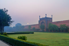 Soiuth gate to Taj Mahal in the fog in the early morning Royalty Free Stock Photos