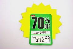 Soixante-dix pour cent de réduction Image stock