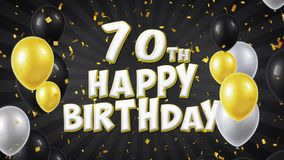 soixante-dixième salutation des textes de noir de joyeux anniversaire, souhaits, fond de boucle d'invitation banque de vidéos