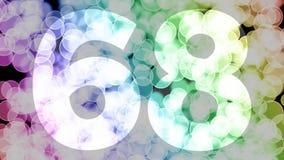 Soixante-sept à soixante-huit ans d'anniversaire se fanent l'animation d'in/out avec le fond en mouvement de bokeh de gradient de illustration de vecteur
