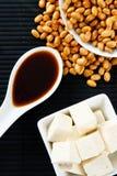 Soja avec la sauce de soja et le tofu Photos libres de droits