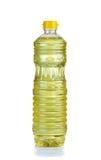 Soja bobowy olej w plastikowej butelce na białym tle Obrazy Royalty Free
