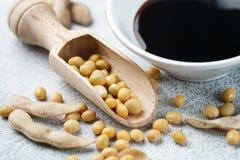 Soja en cuillère, cosses et sauce de soja en bois dans une cuvette blanche Images stock