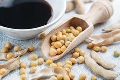 Soja en cuillère, cosses et sauce de soja en bois dans une cuvette blanche Photographie stock