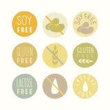 A soja, glúten, lactose livra sinais Fotografia de Stock Royalty Free