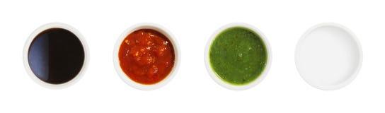 Soja, tomaten, groente en zure roomsausen stock foto's