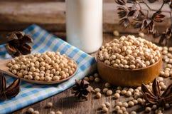 Sojabönor mjölkar och sojabönor på trätabellen Royaltyfri Foto