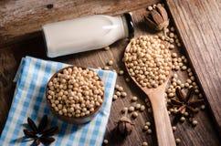 Sojabönor mjölkar och sojabönor på trätabellen Fotografering för Bildbyråer