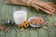 Sojabönor mjölkar i exponeringsglaset Royaltyfria Foton
