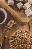 Sojabohnenölprodukte wie, Tofu- und Soßenweinlese Stockfotos