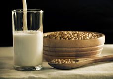 Sojabohnenölmilch Stockfoto