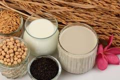 Sojabohnenmilch, Sojabohnenöl, schwarze Samen des indischen Sesams und gekeimter Naturreis (GABA) Lizenzfreie Stockbilder