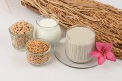 Sojabohnenmilch, Sojabohnenöl, schwarze Samen des indischen Sesams und gekeimter Naturreis (GABA) Stockfotografie