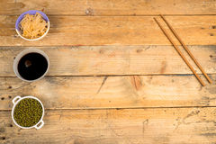 Sojabonen, spruiten en saus Royalty-vrije Stock Foto