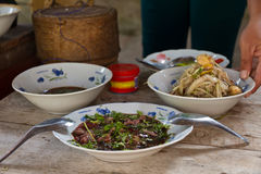 Sok阿尔巴尼亚的货币单位,未加工的牛肉和鸭子血液在东北镇或Isaan地方食物在泰国和老挝 免版税库存图片