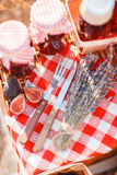 Sok, jagody i lawenda w słomianym koszu, Obraz Stock