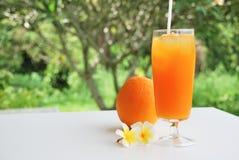 Sok pomarańczowy i pomarańcze Fotografia Royalty Free