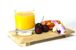 Sok pomarańczowy i wiśnia Zdjęcia Stock