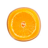 Sok pomarańczowy pomarańcze na białym, Odgórnym widoku, obrazy stock
