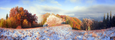 Sokal Ridge in the fall. Sokilsky ridge above Kosiv, Prykarpattya autumn. Forest of beech and birch spruce beautiful colorful color after bad weather rain and Royalty Free Stock Photography