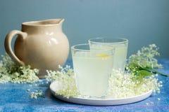 Sokata froid - une boisson roumaine traditionnelle faite à partir des fleurs de l'aîné et du citron, produites par la fermentatio Photo libre de droits