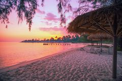 Sokha Beach beautifull sunset at sokha hotel and resort in sihanoukville province. Sokha is a beautiful beach with its one-kilometer crescent and comparatively stock photography
