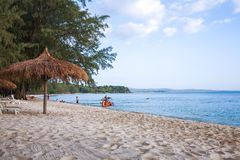 Sokha beach in sihanoukville province. Sokha is a beautiful beach with its one-kilometer crescent and comparatively wide so that there is plenty of sand left royalty free stock images