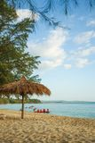 Sokha beach in sihanoukville province. Sokha is a beautiful beach with its one-kilometer crescent and comparatively wide so that there is plenty of sand left royalty free stock image
