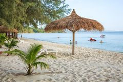 Sokha beach in sihanoukville province. Sokha is a beautiful beach with its one-kilometer crescent and comparatively wide so that there is plenty of sand left stock photography