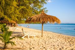 Sokha Beach sokha hotel sokha resort in sihanoukville province. Sokha is a beautiful beach with its one-kilometer crescent and comparatively wide so that there royalty free stock images