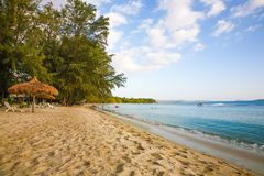 Sokha Beach sokha hotel sokha resort in sihanoukville province. Sokha is a beautiful beach with its one-kilometer crescent and comparatively wide so that there royalty free stock photography