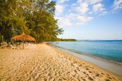 Sokha Beach sokha hotel sokha resort in sihanoukville province. Sokha is a beautiful beach with its one-kilometer crescent and comparatively wide so that there royalty free stock photos