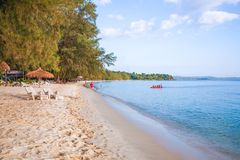 Sokha beach in sihanoukville province. Sokha is a beautiful beach with its one-kilometer crescent and comparatively wide so that there is plenty of sand left royalty free stock photography