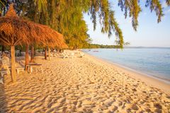 Sokha beach in sihanoukville province. Sokha is a beautiful beach with its one-kilometer crescent and comparatively wide so that there is plenty of sand left royalty free stock photo