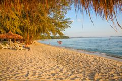 Sokha beach in sihanoukville province. Sokha is a beautiful beach with its one-kilometer crescent and comparatively wide so that there is plenty of sand left stock images