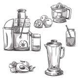 soki juicing maszyny blender dieta zdrowa royalty ilustracja