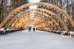 Sokolniki公园,晴朗的冬日,木曲拱- pa的标志 库存照片
