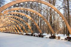 Sokolniki parkuje, pogodny zima dzień, Drewniany łuk - symbol pa Fotografia Royalty Free