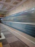 Sokolniki subway station. Sokolniki, Moscow, Russia - february 06, 2017: subway train arive Royalty Free Stock Photography