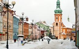 Sokolov, Tsjechische Republiek, de oude stad van de mensenmijnbouwtechniek Stock Fotografie